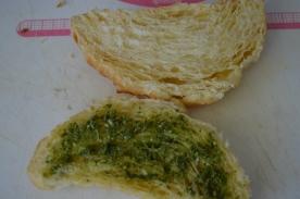 spread some tasty pesto on the bottom half.