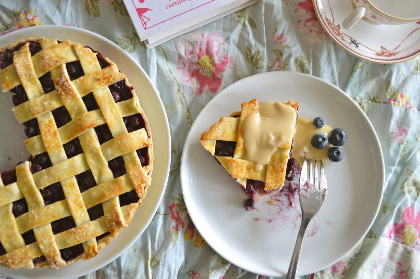 Blueberry and almond lattice pie